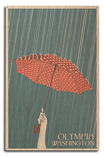 Olympia, Washington - Umbrella - Letterpress (10x15 Wood Wall Sign, Wall Decor Ready to ()