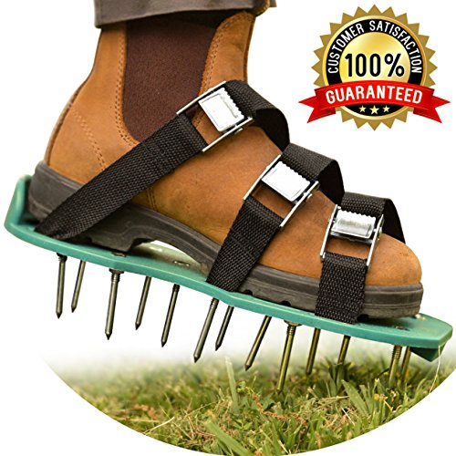 """Amazon #LightningDeal 76% claimed: Winter Lawn Treatment - Revive Your Lawn Roots with Lawn Aerator Shoes - Heavy Duty Spiked Shoes, 2"""" Long Steel Nails, 3 Adjustable Durable Straps With Metal Buckles - 2 Extra Spikes and Small Wrench"""
