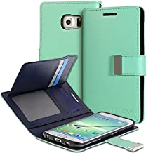 Vena Samsung Galaxy S6 Edge Wallet Case [vDiary] Chic Slim Tri-Fold Flip Cover PU Leather Wallet Case [Card Pockets & Stand] for Samsung Galaxy S6 Edge (Teal / Navy Blue)