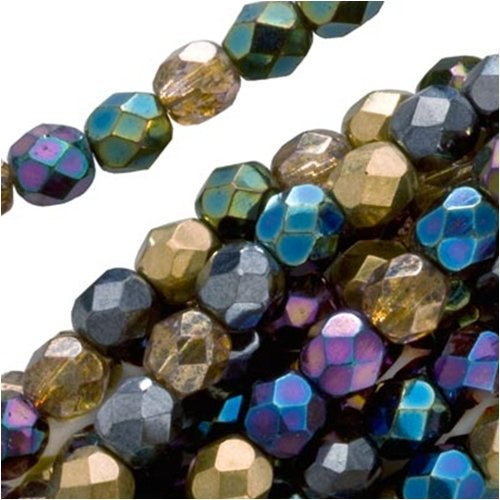 Czech Fire Polish Glass Beads 8mm Round