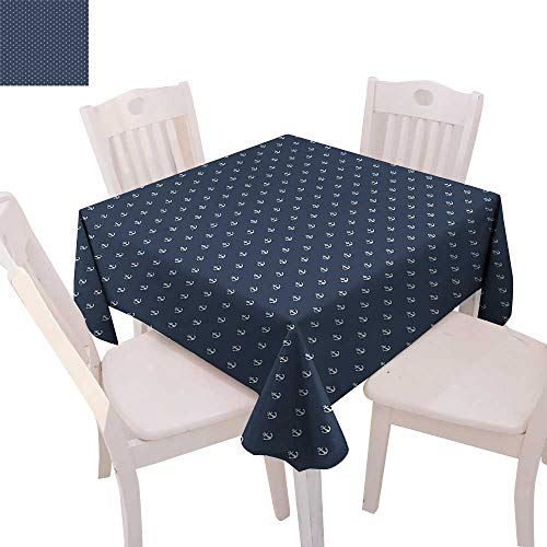 (cobeDecor Navy Blue Stain Resistant Wrinkle Tablecloth Nautical Classical Pattern with White Little Anchor Icons Sea Travel Cruise Square Wrinkle Resistant Tablecloth 36
