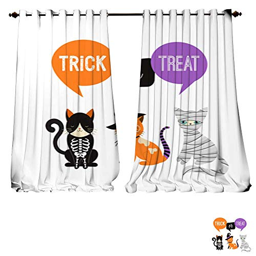 DESPKON-HOME Room Darkening Wide Curtains Happy Halloween Cats in Monsters Costumes Halloween Party Vector Illustration Banner Elements set3 Tie Up Window Drapes Living Room -W120 x L84/Pair ()
