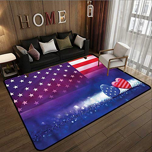 Outdoor Patio Rug American Flag Hearts Country Love Anti-Static, Water-Repellent Rugs 4'11