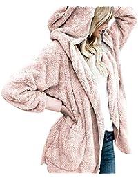 Women Casual Fleece Jacket Open Front Solid Plush Hooded...