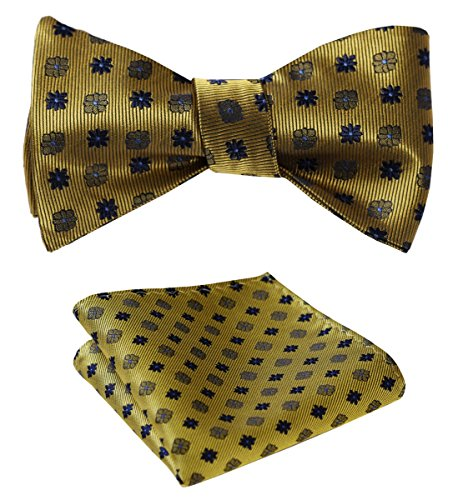 Floral Jacquard Woven Party Self Bow Tie Set Olive / Blue ()