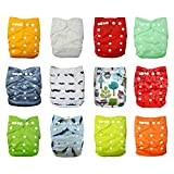 Babygoal Baby Cloth Diapers,One Size Adjustable Reusable Pocket 12pcs Diapers+12pcs Microfiber Inserts+Wet Bag+4pcs Baby Wipes 12fn47-1