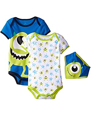 Disney Baby Boys' Monster Inc. Mike Bodysuit and Bib (Pack of 3)