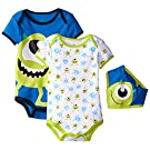 Disney Baby-Boys Monster Inc Mike Bodysuit and Bib, Blue, 6-9 Months (Pack of 3)