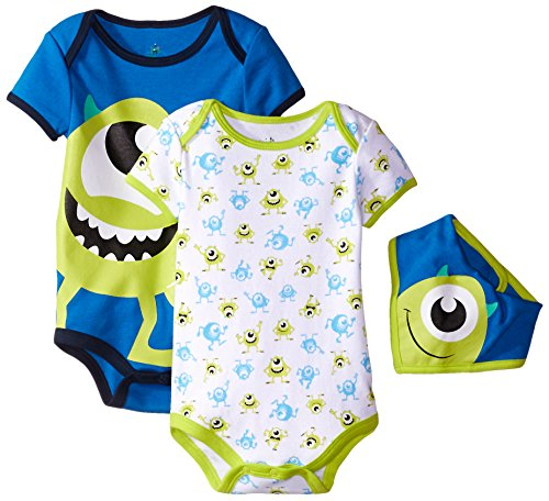 Disney Baby-Boys Monster Inc Mike Bodysuit and Bib, Blue, 3-6 Months (Pack of 3) (Baby Monsters Inc)