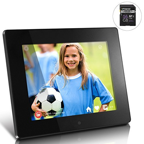 Aluratek - 8'' WiFi Digital Photo Frame with Touchscreen IPS LCD Display 8GB with Polaroid 16 GB Class 10 SD Card - SDHC UHS-I, U1 Memory Flash Card by Calumet
