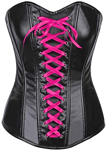 Daisy corsets Lavish Wet Look Faux Leather Lace-Up Over Bust Corset Black