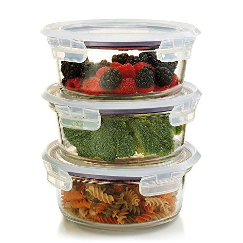 Glass Round Storage - Komax Oven Safe Round Glass Food Storage Containers - Microwave & Freezer Safe - Airtight Bowls with Snap Locking Lids - 3 Piece Set - BPA FREE (32 oz)