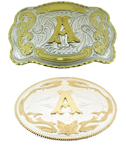 - Big Initial Letter A Belt Buckles Two Styles Western Monogram Cowboy Gold Silver