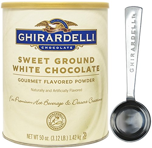 Ghirardelli - Sweet Ground White Chocolate Gourmet Flavored Powder 3.12 lb - with Exclusive Measuring Spoon (Vanilla Ice Cream Base)