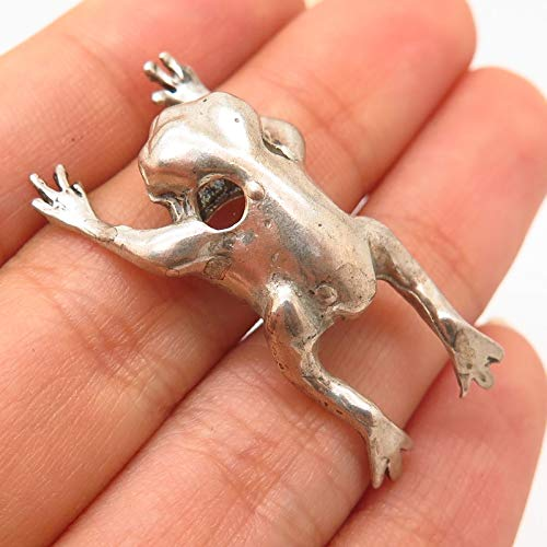 Frog Slide Pendant Jewelry - Vintage 925 Sterling Silver Frog for Good Luck Design Slide Pendant Jewelry Making Supply by Wholesale Charms
