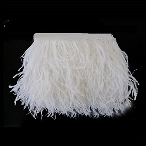 Lanshi Ostrich Feathers Trims Fringe with Satin Ribbon Tape for Dress Sewing Crafts Costumes Decoration Pack of 2 Yards (White) - Ostrich Feathers Hats Crafts