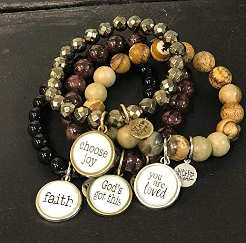 Blessed Hope Love Peace Joy Faith God Stacking Name Word beaded bracelet. custom bracelet. custom natural colorful bead Stackable Bridesmaid Gift Stretch Fun Stocking Stuffers bead bracelet Cabochon (Beaded Hope Bracelet)