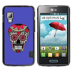 GOODTHINGS Funda Imagen Diseño Carcasa Tapa Trasera Negro Cover Skin Case para LG Optimus L5 II Dual E455 E460 - modelo púrpura del cráneo floral muerte