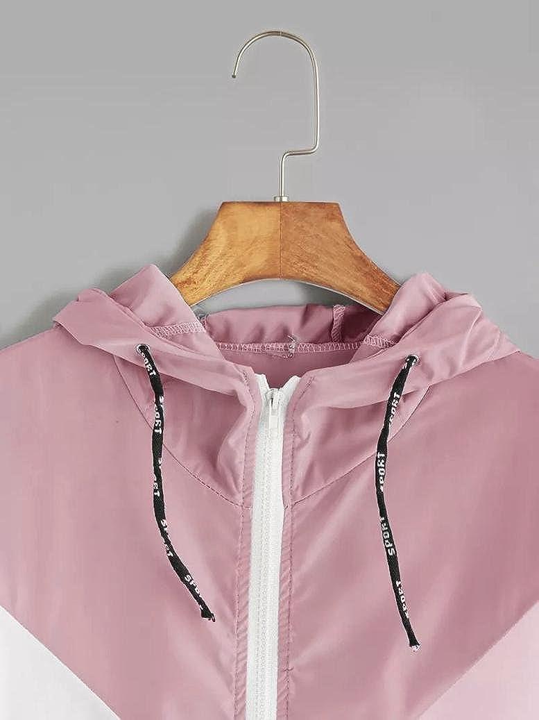 TUDUZ Damen Langarm Hoodies Patchwork D/ünne Skins Suits mit Kapuze Rei/ßverschluss Sport Mantel Outwear