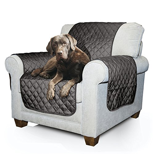 Furhaven Pet Furniture Cover | Two-Tone Reversible Water-Resistant Living Room Furniture Cover Protector Pet Bed for Dogs & Cats, Gray & Mist, Chair (Dog Armchair Beds)
