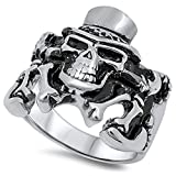 Irish Top Hat Biker Skull Chopper Ring New 316L Stainless Steel Band Size 10
