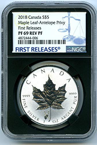 2018 Canada Coin Canadian Silver Maple Leaf Reverse Proof Antelope Privy FIRST RELEASES $5 PF69 NGC