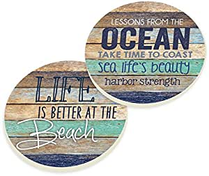 Life Is Better At The Beach Coastal Ocean Vintage Look Ceramic Car Coaster Pack (Set of 2)