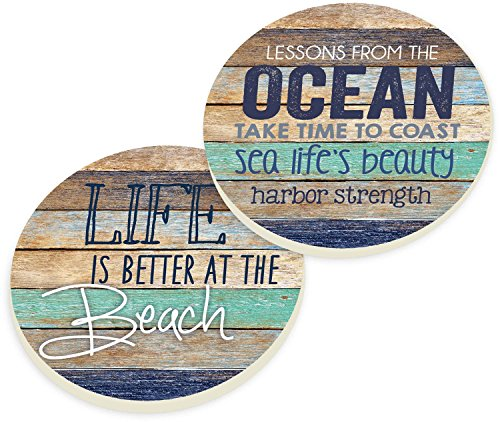 (Life Is Better At The Beach Coastal Ocean Vintage Look Ceramic Car Coaster Pack (Set of 2))