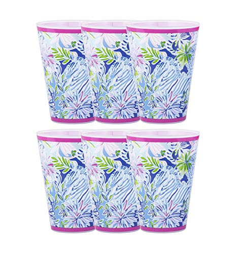 Lilly Pulitzer Tumbler - Lilly Pulitzer 14 Ounce Reusable Plastic Pool Cups, Set of 6 (Lion Around)