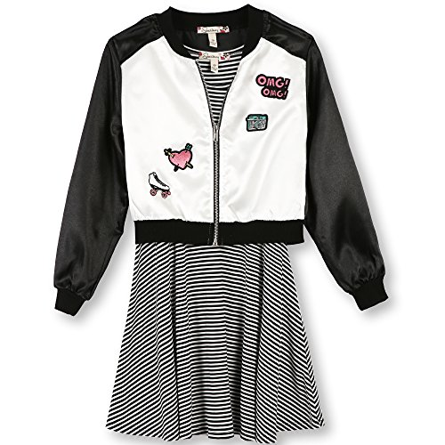 Speechless Girls Plus Size' Skater Dress with Jacket, Black/White Patch, 14.5 by Speechless