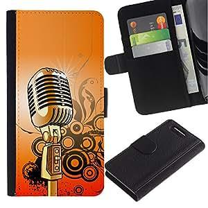 Be Good Phone Accessory // Caso del tirón Billetera de Cuero Titular de la tarjeta Carcasa Funda de Protección para Sony Xperia Z1 Compact D5503 // Microphone Music Singing Retro Vintage