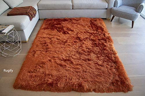 Solid Fluffy Fuzzy Flokati Soft Patterned Plush Shag Shaggy Modern Contemporary Cozy Decorative Designer Living Room Bedroom 8-Feet-by-10-Feet Polyester Made Area Rug Carpet Rug Orange Rust Color