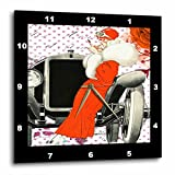 art deco images 3dRose Art Deco - Image of Lady in Red Leaning On Antique Car - 15x15 Wall Clock (dpp_281615_3)