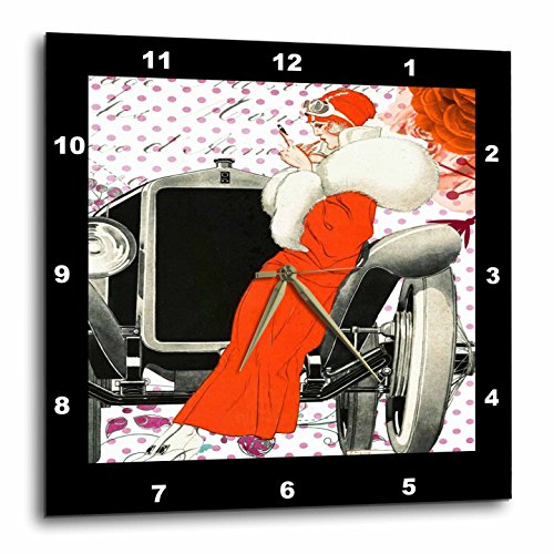 3dRose Art Deco - Image of Lady in Red Leaning On Antique Car - 15x15 Wall Clock (dpp_281615_3)