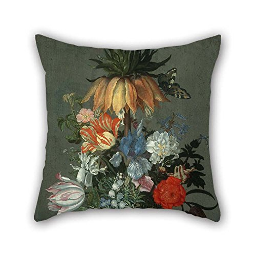 TonyLegner Oil Painting Johannes Bosschaert - Flower Still Life with Crown Imperial Throw Pillow Case 18 X 18 Inches / 45 by 45 cm for Drawing Room Birthday Festival Pub Sofa Office with Two Sides