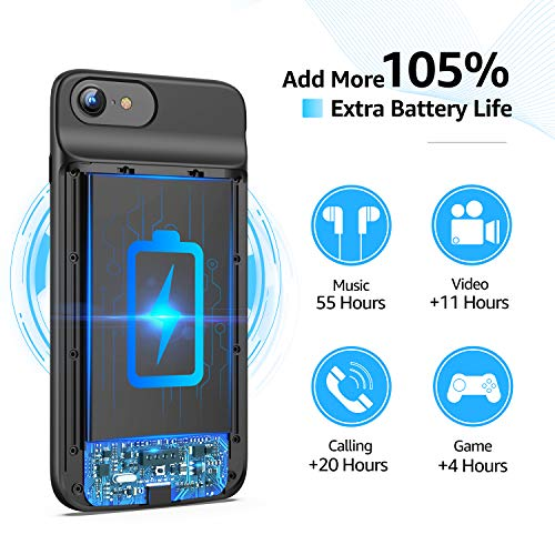 Lonlif Battery Case for iPhone 7/8/SE 2020(2nd Generation), 3200mAh Portable Charging Case Protective Slim Extended Battery Pack Charger Case (Black)