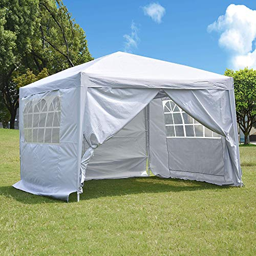 charaHOME 10 x 10 ft Heavy Duty Ez Pop Up Gazebo Canopy Tent for Outdoor Waterproof Party Wedding Exhibition Pavilion BBQ Beach with 4 Removable Sidewalls (White)...