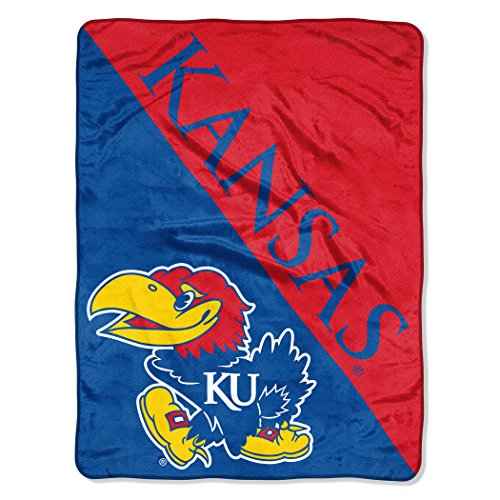 (The Northwest Company Officially Licensed NCAA Kansas Jayhawks Halftone Micro Raschel Throw Blanket, 46