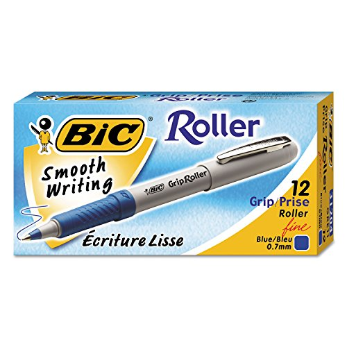 Bic Corporation Products - Rollerball Pen, Fine Point, 0.7mm, Blue Ink - Sold as 1 DZ - Grip Roller combines the smooth, fluid writing of a marker with the tough durability of a ballpoint pen. Fast-drying ink delivers clean writing. Strong metal point is ideal for writing through carbons. Rubber grip provides writing comfort. Grip color indicates ink color. Clip easily attaches to notebook. Nonrefillable.