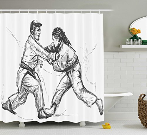 Ambesonne Asian Shower Curtain, Karate Eastern Martial Arts Practicing Men Figures Traditional Hand Drawn Print, Fabric Bathroom Decor Set with Hooks, 70 Inches, Pale Grey White Female Karate Figure