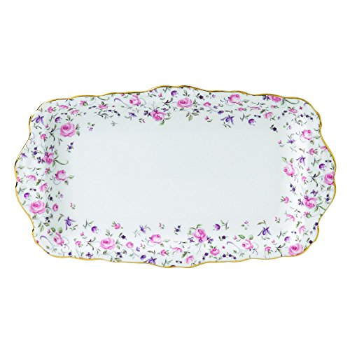Vintage Sandwich Tray - Royal Albert ROSCON26137 Rose Confetti Vintage Formal Rectangular Serving Tray, White