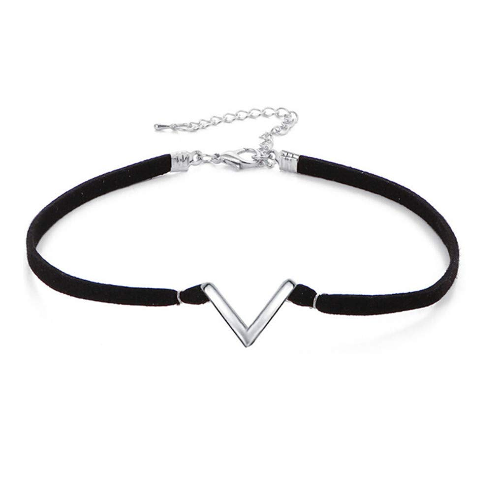 DearAnswer Simple V-Shaped Geometric Choker Collar Short Necklace Birthday for Women,Silver