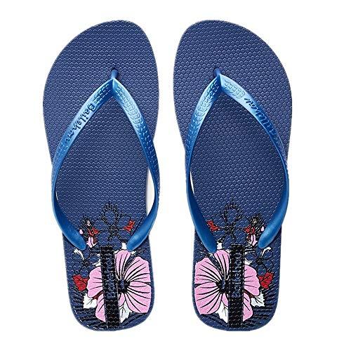 Slip Flat De Toe EU on Fleur Fuxitoggo Femmes coloré Clip Sandales Taille Flip Rouge 40 Bleu Flops Plage x1qw0
