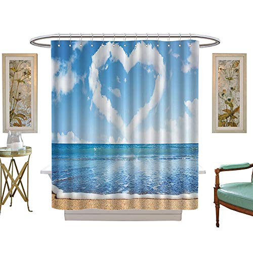 (Shower Curtains Fabric Scenery Decorations Heart Shaped Clouds Dreamy Scene Romance Ocean Waves Love Art Waterproof, mildewproof, non-fading-W69 x L70 Sand Blue White)