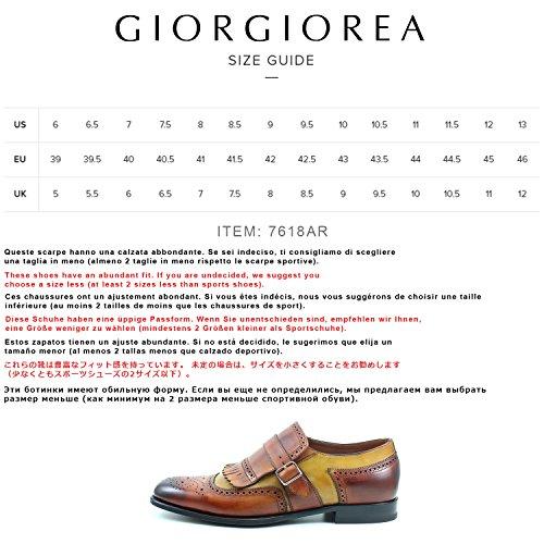GIORGIO REA Zapatos Para Hombre Naranja Zapatos Hechos a Mano EN Italia, Hebilla, Abarcas, Mocasines, hebillas, Elegante, de Alta Costura Brogue Oxfords Naranja