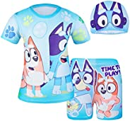 DSL Swimsuits for Boys Toddler Two Pieces Bathing Suit Short Sleeve Swim Set with Cap for Summer Beach Sport