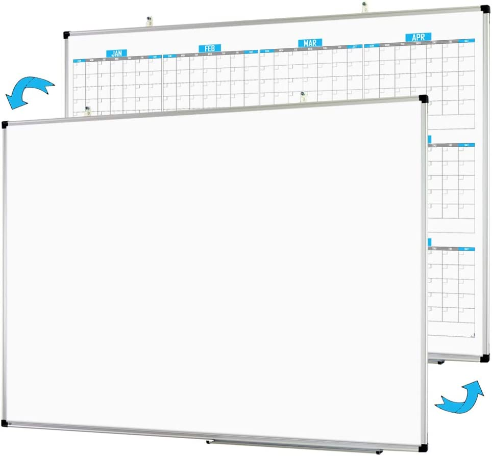 """XBoard Dry Erase Yearly Calendar 48"""" x 36"""" - Magnetic Whiteboard 12 Months Calendar, Dry Erase White Board Planner with Ultra-Slim Silver Aluminum Frame for Home School Office Organization"""