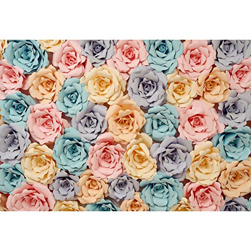Baocicco 5x4ft Paper Flower Backdrop Blue and Pink Rose Floral Decor Photography Background Wedding Birthday Ceremony Valentine