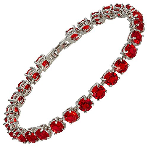 RIZILIA Round Cut Simulated Red Ruby CZ 18K Gold Plated Tennis Bracelet, 7