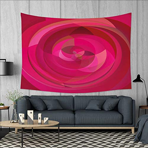smallbeefly Hot Pink Wall Tapestry Abstract Vortex with Swirls and Shapes Pattern with Vibrant Pink Colors Home Decorations for Living Room Bedroom 80''x60'' Hot Pink Magenta Pink by smallbeefly